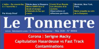E-Tonnerre Magazine – Mai 2020 - N° 00004 : Corona : Serigne Macky Capitulation Hasardeuse vs Fast Track Contaminations